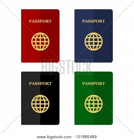 Color Passports Icons Set in Flat Style. Vector