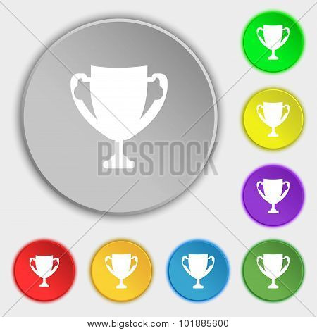 Winner Cup Sign Icon. Awarding Of Winners Symbol. Trophy. Symbols On Eight Flat Buttons. Vector