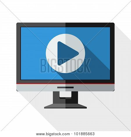 Monitor Icon With Long Shadow On White Background