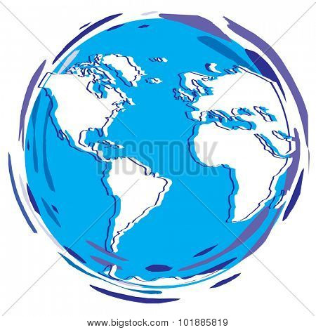 Stylized Earth Planet - Globe as vector illustration