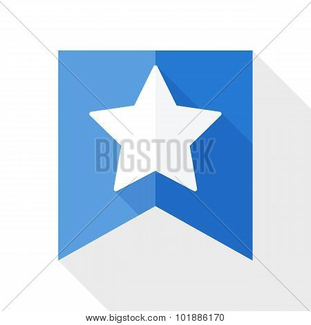 Star On The Flag Icon With Long Shadow On White Background