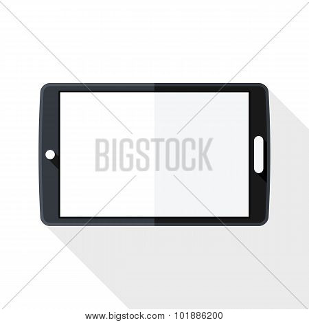 Tablet Icon With Long Shadow On White Background