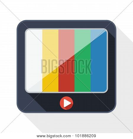 Tv Flat Icon With Long Shadow On White Background
