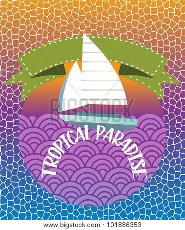 Sailboat on waves with banner behind - pattern background