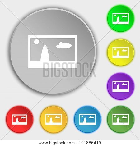 File Jpg Sign Icon. Download Image File Symbol. Symbols On Eight Flat Buttons. Vector