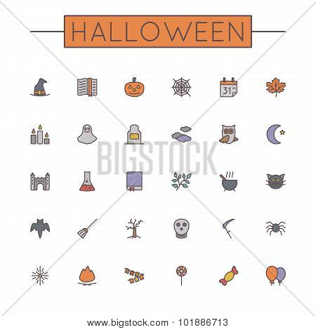Vector Colored Halloween Line Icons