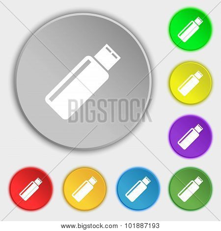 Usb Sign Icon. Flash Drive Stick Symbol. Symbols On Eight Flat Buttons. Vector