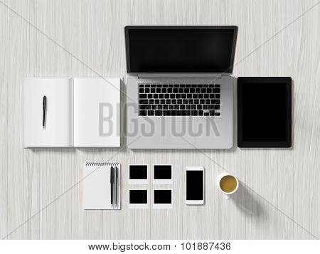 High Angle View Of A Setting Table Of Business Workplace.