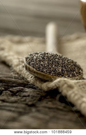 Wooden Spoon Full Of Healthy Nutritious Chia Seeds