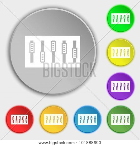 Dj Console Mix Handles And Buttons Icon Symbol. Symbols On Eight Flat Buttons. Vector