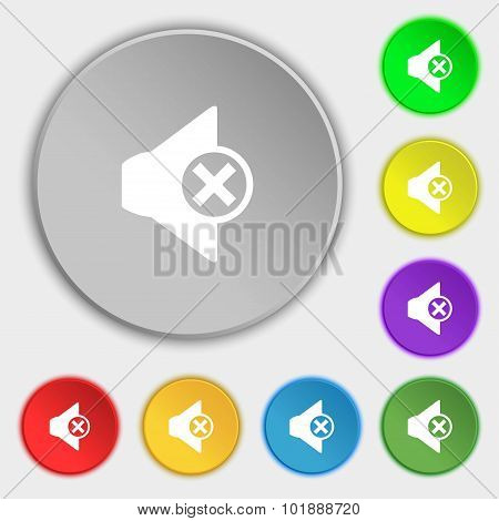 Mute Speaker Sign Icon. Sound Symbol. Symbols On Eight Flat Buttons. Vector