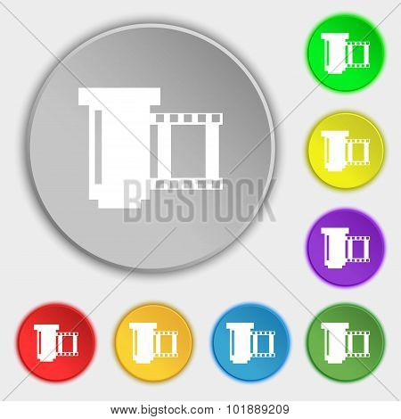Negative Films Icon Symbol. Symbols On Eight Flat Buttons. Vector