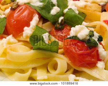 Pasta Collection - Fettucini With Tomatoes, Basil And Mozarella