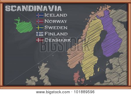 Blackboard with the Map of Scandinavia