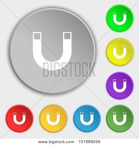 Magnet Sign Icon. Horseshoe It Symbol. Repair Sig. Symbols On Eight Flat Buttons. Vector