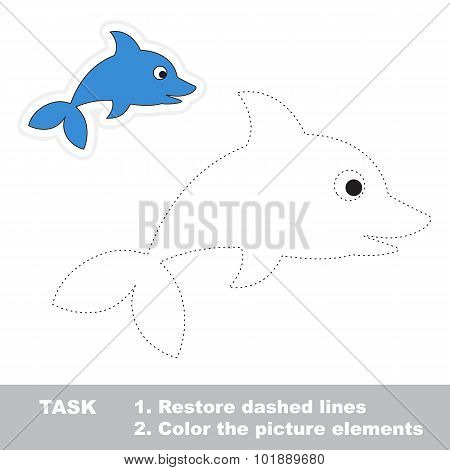 One cartoon dolphin. Restore dashed line and color picture.
