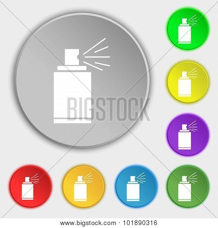 Graffiti Spray Can Sign Icon. Aerosol Paint Symbol. Symbols On Eight Flat Buttons. Vector