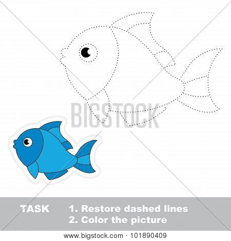 Trace game for children. One cartoon fish to be traced.