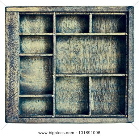 small vintage wood  case (typesetter drawer)  or shadow box with  dividers, isolated on white