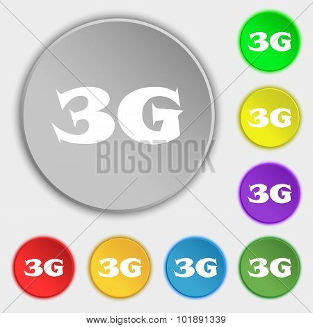 3G Sign Icon. Mobile Telecommunications Technology Symbol. Symbols On Eight Flat Buttons. Vector