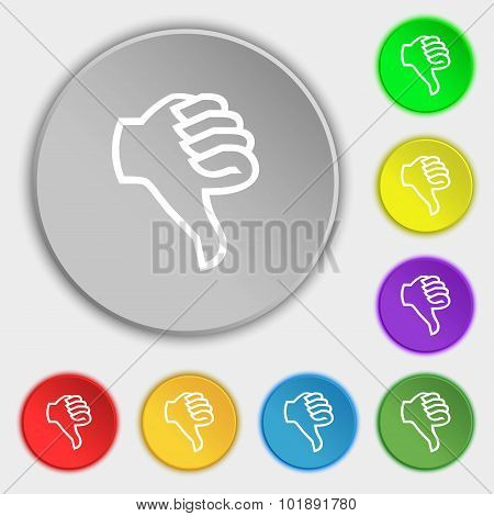 Dislike Sign Icon. Thumb Down. Hand Finger Down Symbol. Symbols On Eight Flat Buttons. Vector