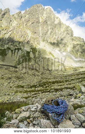 Blue Rope And Helmet In The Tatra Valley