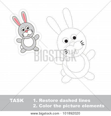 One cartoon rabbit. Restore dashed line and color picture.
