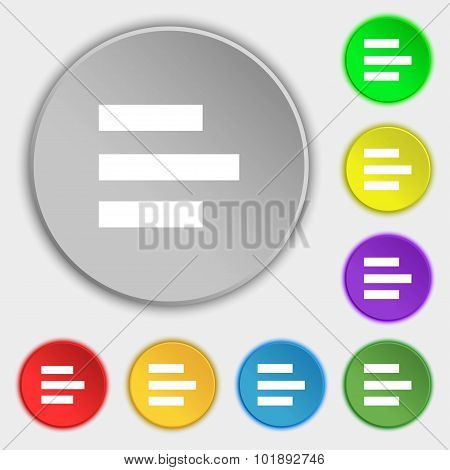 Left-aligned Icon Sign. Symbols On Eight Flat Buttons. Vector