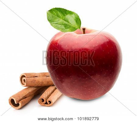 Red Apple With Cinnamon Sticks Isolated On The White Background