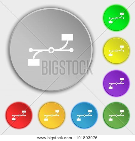 Bezier Curve Icon Sign. Symbols On Eight Flat Buttons. Vector