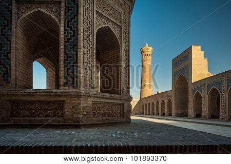 Inner yard of the complex of buildings of Poi Kalyan, Bukhara, Uzbekistan