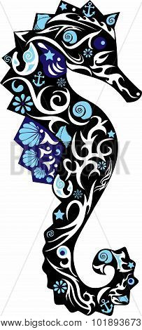 Sea horse blak with a pattern