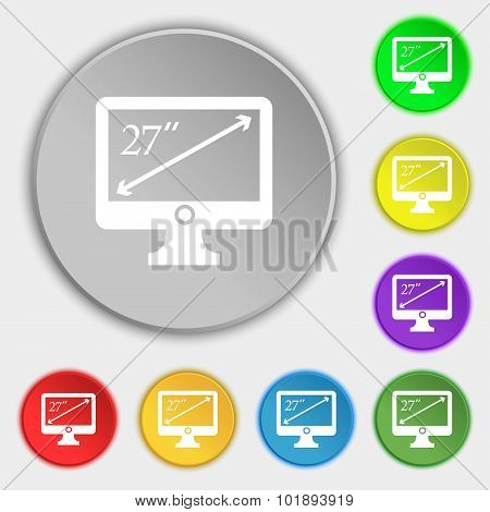 Diagonal Of The Monitor 27 Inches Icon Sign. Symbols On Eight Flat Buttons. Vector
