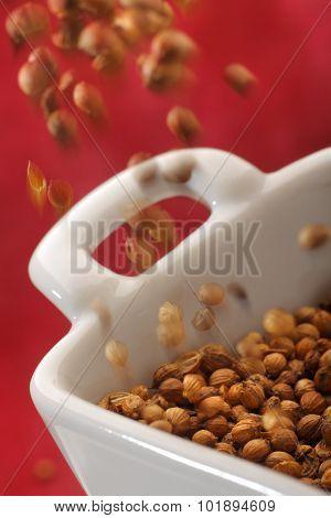 Pouring Coriander Seeds Into A Bowl