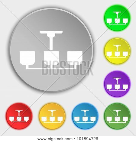 Chandelier Light Lamp Icon Sign. Symbols On Eight Flat Buttons. Vector