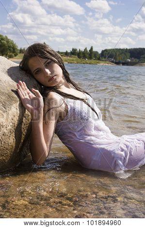 Teen Mermaid Girl In The Lake