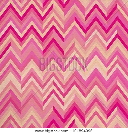 Seamless Pattern Pink Zigzag Hipster Retro Vintage