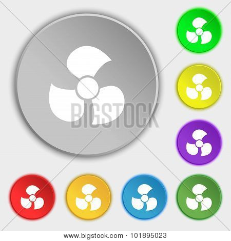 Fans, Propeller Icon Sign. Symbols On Eight Flat Buttons. Vector