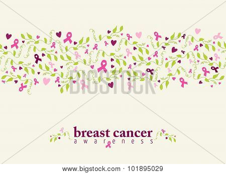 Breast Cancer Seamless Pattern Ribbon Heart Nature