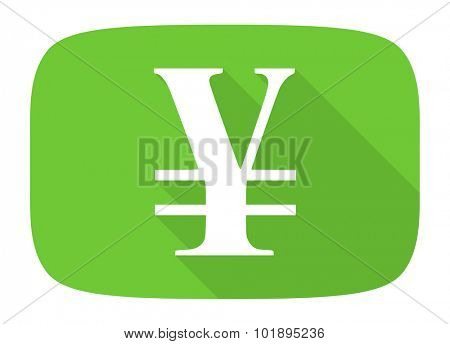 yen flat design modern icon with long shadow for web and mobile app