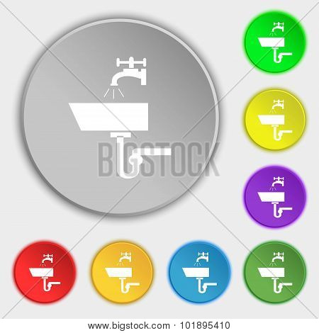 Washbasin Icon Sign. Symbols On Eight Flat Buttons. Vector