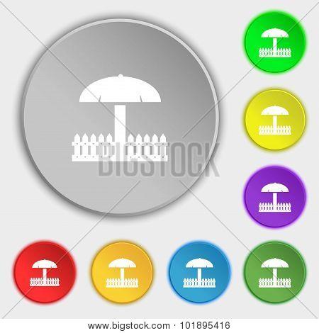 Sandbox Icon Sign. Symbols On Eight Flat Buttons. Vector