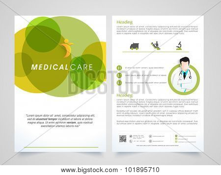 Creative Medical Care Brochure, Template or Flyer design with front and back side presentation.