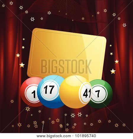 Bingo Balls With Christmas Gift Tag On Red Velvet Background