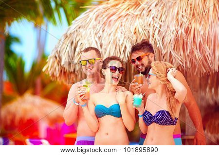 Group Of Happy Friends Having Fun On Tropical Beach, Summer Holiday Party