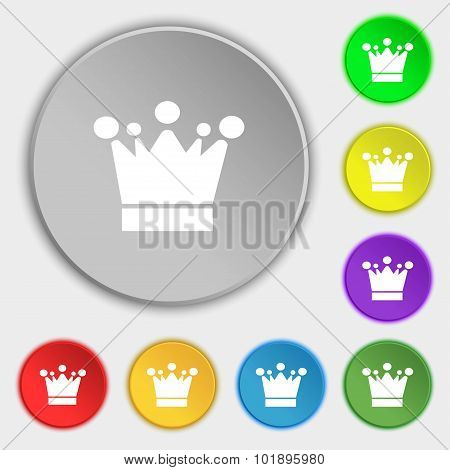 Crown Icon Sign. Symbols On Eight Flat Buttons. Vector