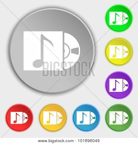Cd Player Icon Sign. Symbols On Eight Flat Buttons. Vector