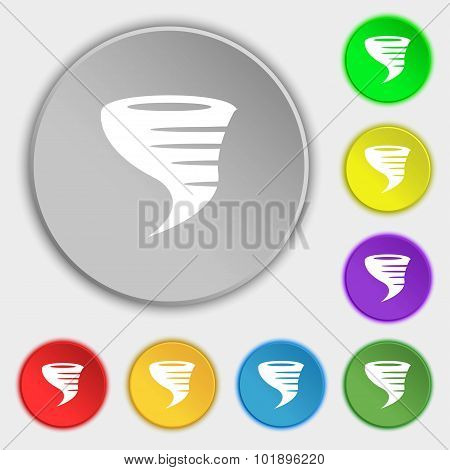 Tornado Icon. Symbols On Eight Flat Buttons. Vector
