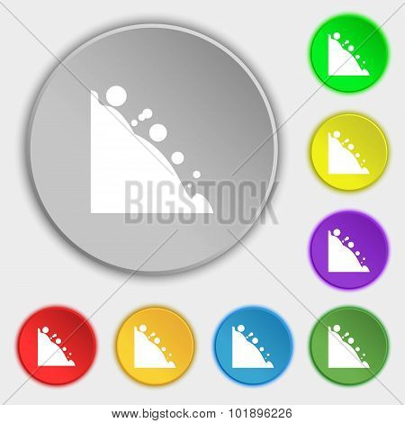 Rockfall Icon. Symbols On Eight Flat Buttons. Vector
