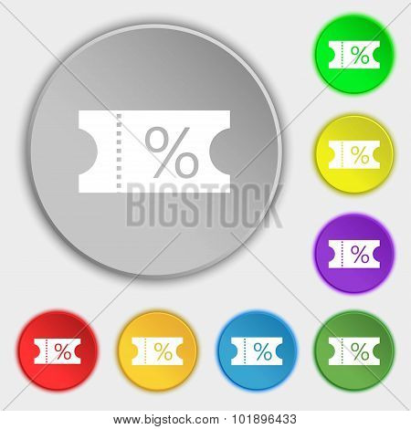 Ticket Discount Icon Sign. Symbols On Eight Flat Buttons. Vector